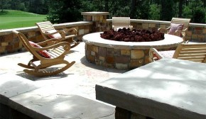 Stone Patio with Fire Pit