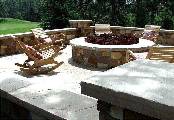 Stone Patio With Fire Pit Andraos Construction